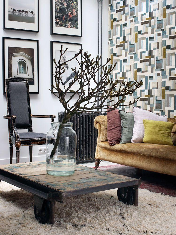 Inspirerande vardagsrum med tapet från kollektionen Brooklyn Bridge 138514. Klicka för att se fler fina tapeter för ditt hem!