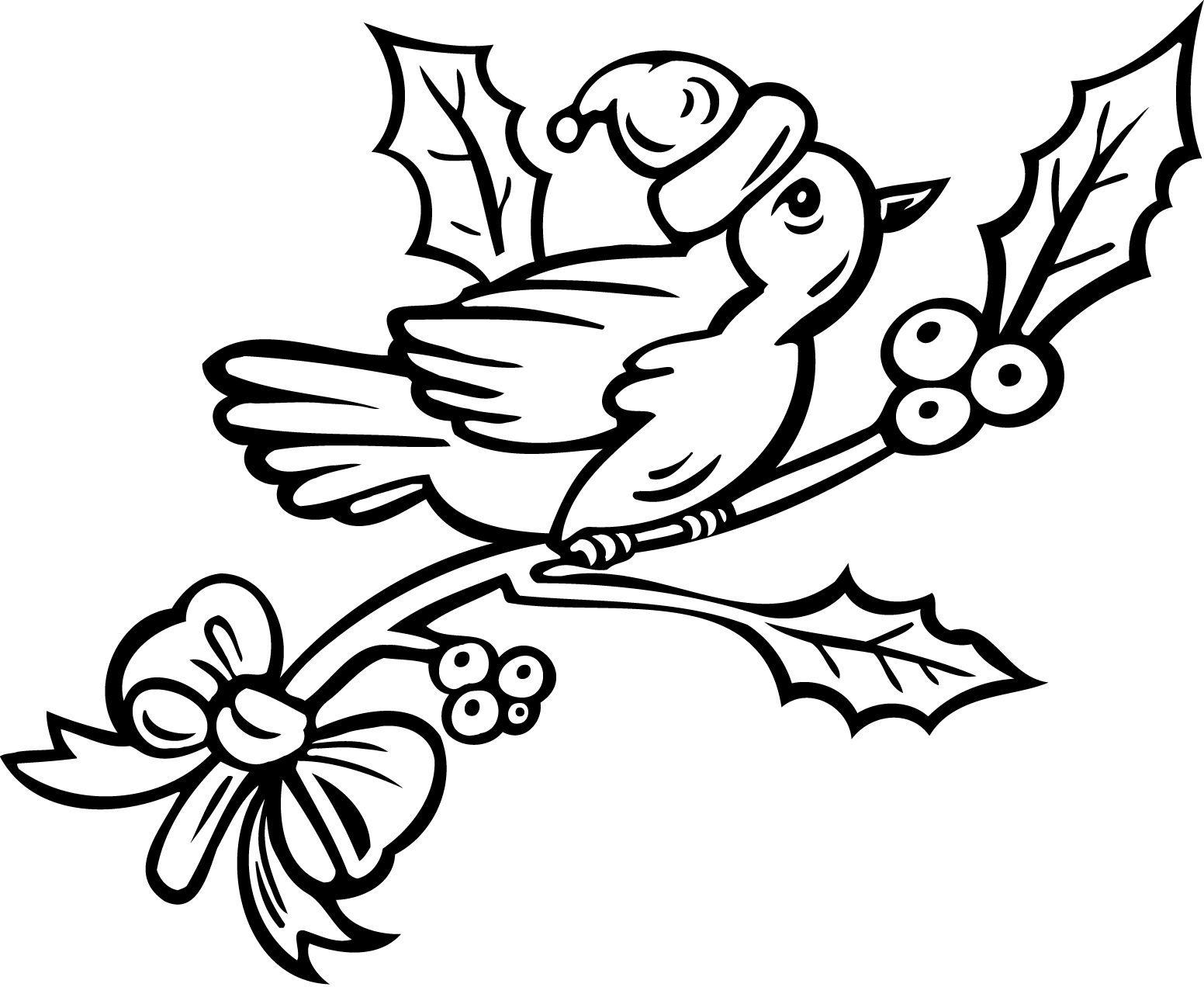 birds on a christmas tree coloring pages pages for kids