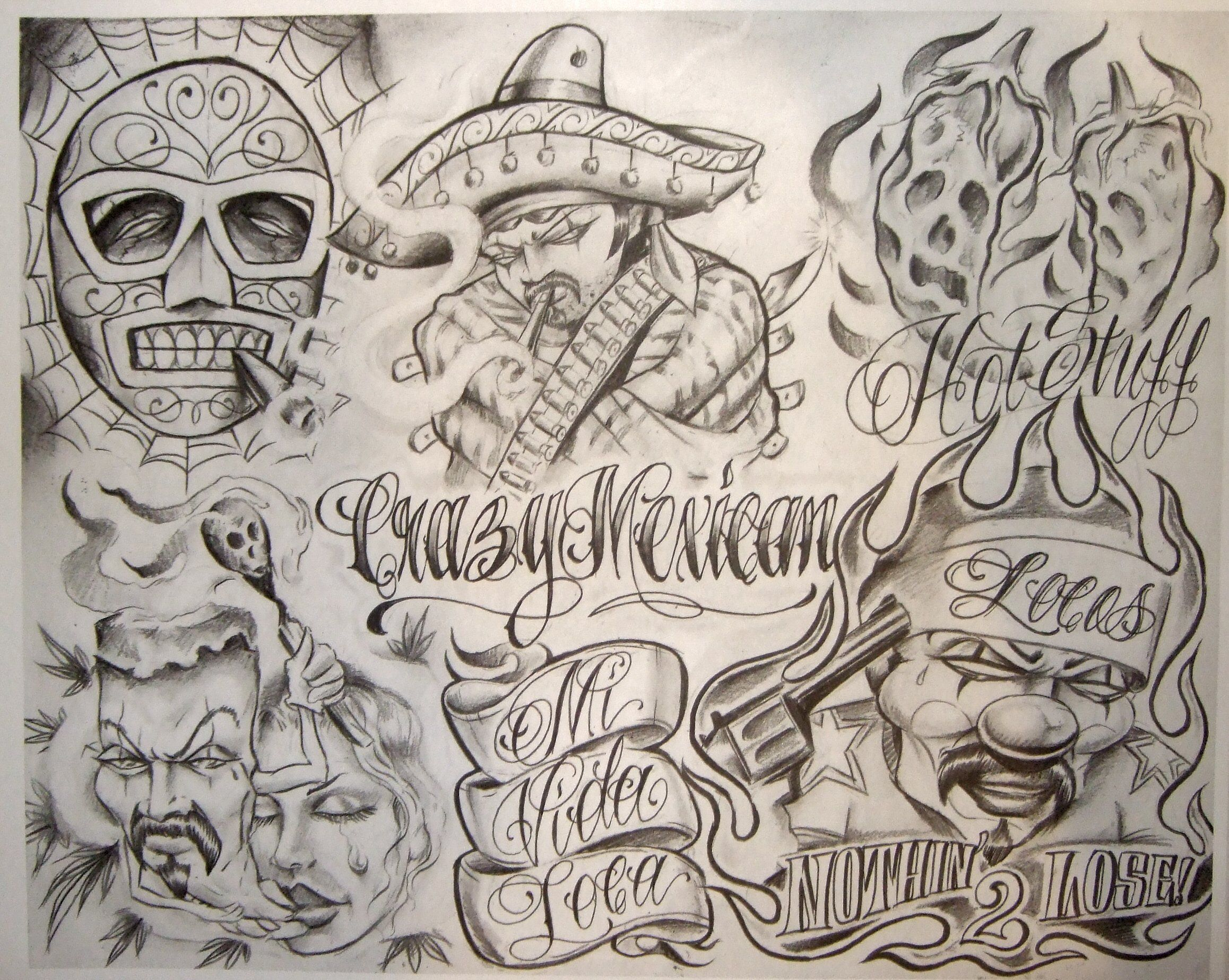 Pics Photos Tattoo Flash By Boog 191 Boog Tattoo Gangsta Tattoos Chicano Drawings