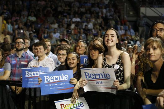 On The Campaign Trail   Supporters of Democratic presidential candidate Senator Bernie Sanders::Attending a campaign rally in Portland, ME. July 6, 2015.. Finally, Youth of America have found a politician to get excited about!!!
