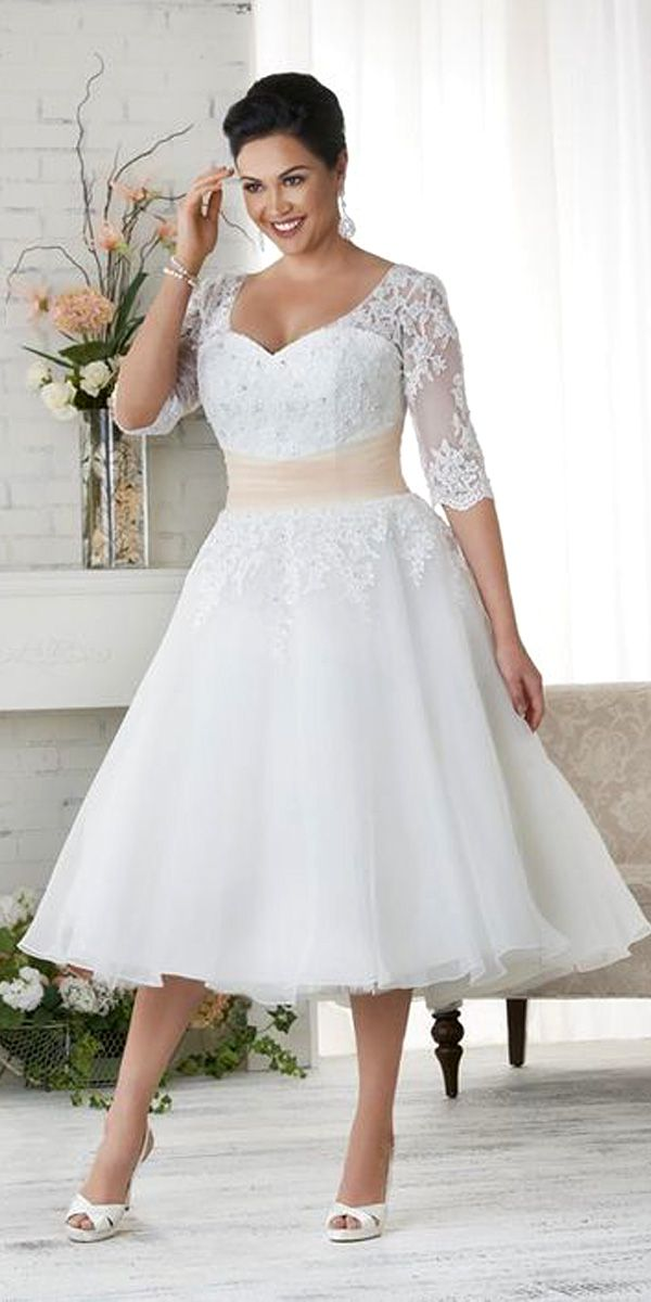 Plus Size Casual Short Wedding Dress Eyelet