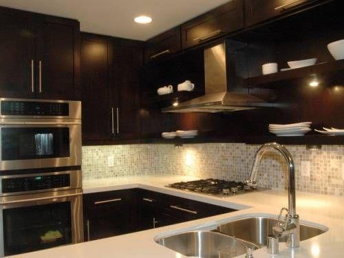 Dark Cabinet Backsplash Ideas  Countertops  Pinterest Unique Kitchen Designs Dark Cabinets Decorating Design