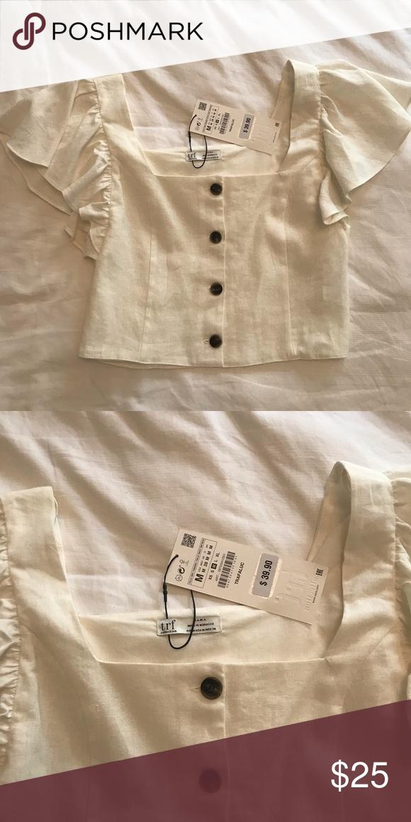 054e71a7b7f6c Zara White Linen Top NEW with tags White linen button down Longer cropped top  Zara Tops Blouses