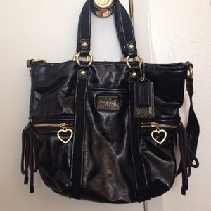 I just discovered this while shopping on Poshmark: Coach black patent leather poppy satchel. Check it out! Price: $110 Size: OS, listed by aree23
