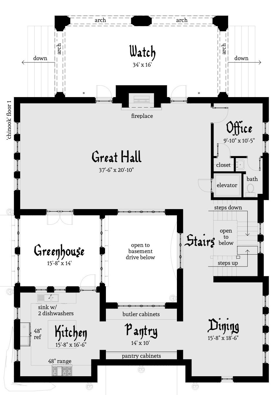 Chinook Castle Plan | Castle house plans, Beach house plans and ...