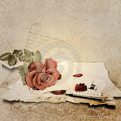 Vintage Background With Rose And Old Cards By Chiff Via Dreamstime Love Vintage Romantic Prints Background Vintage Clip Art Vintage Old Cards