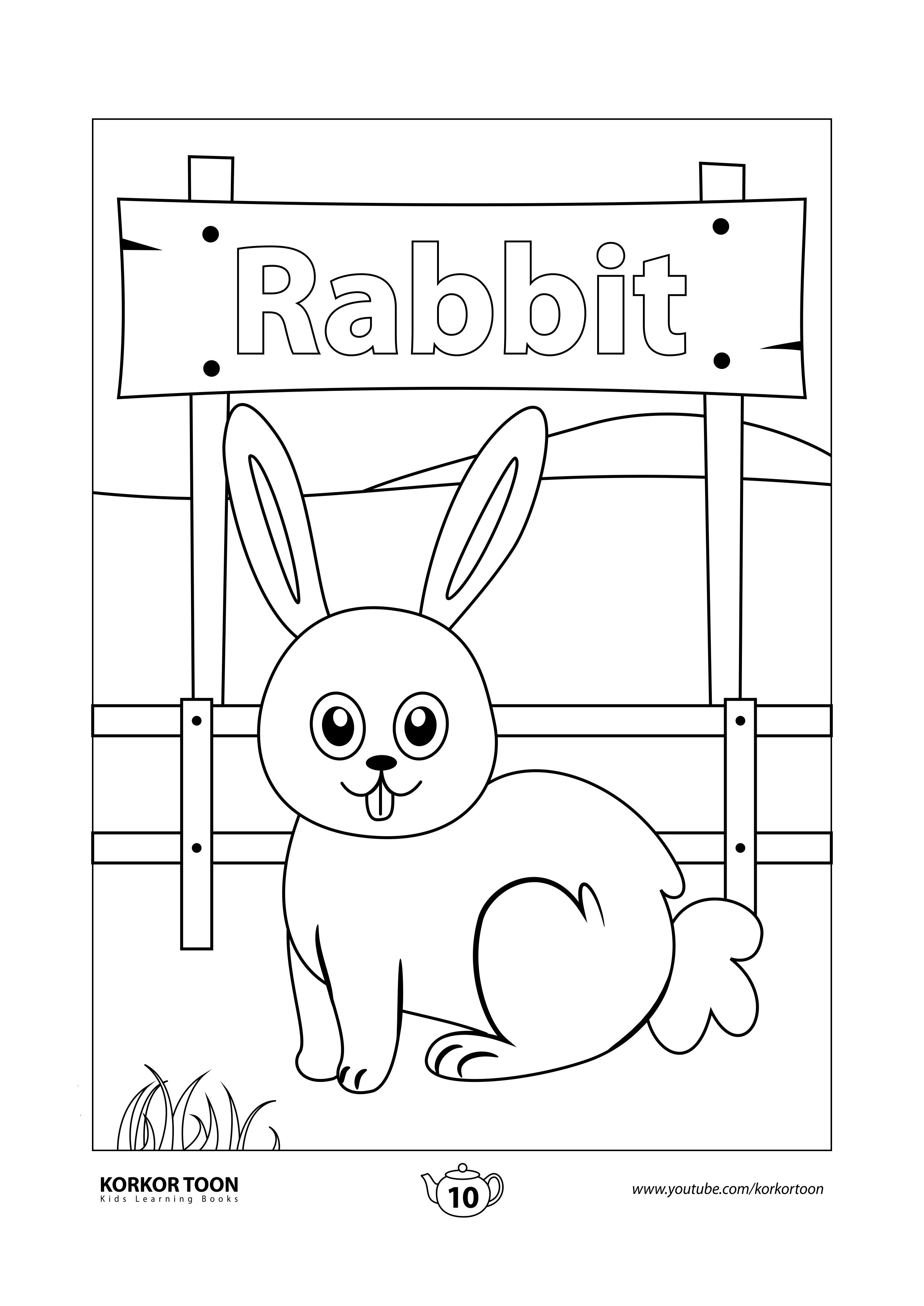 Rabbit Coloring Page Farm Animals Coloring Book Animal Coloring Books Coloring Books Kids Coloring Books