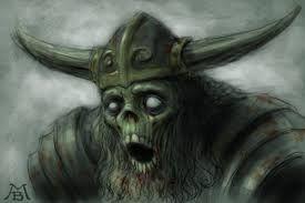 """Draugr ou draug (em nórdico antigo: draugr; em norueguês, sueco e dinamarquês: draugen), também conhecido como aptrgangr (literalmente """"o que caminha de novo"""", ou """"o que caminha depois da morte"""") é uma criatura classificada como um morto-vivo na mitologia nórdica.[1]"""