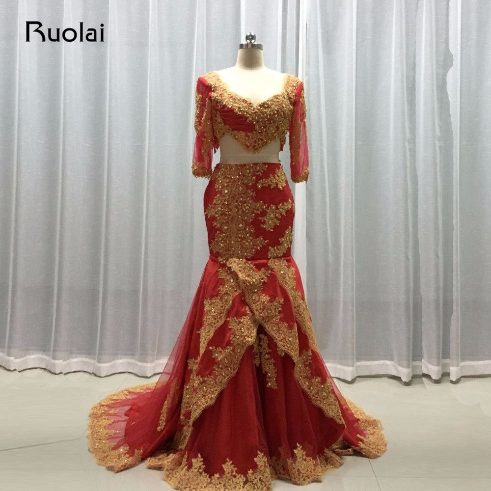 Click to buy ucuc real image two pieces dubai arabic evening dresses