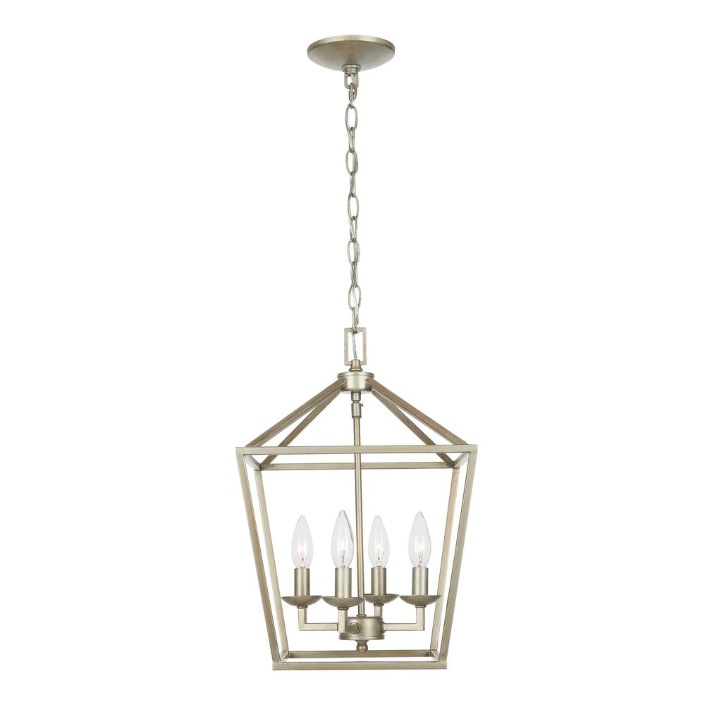 Home Decorators Collection Weyburn 4 Light Antique Silver Leaf Caged Chandelier Lsa 46201 The Home Depot In 2021 Cage Chandelier Silver Light Fixture Chandelier