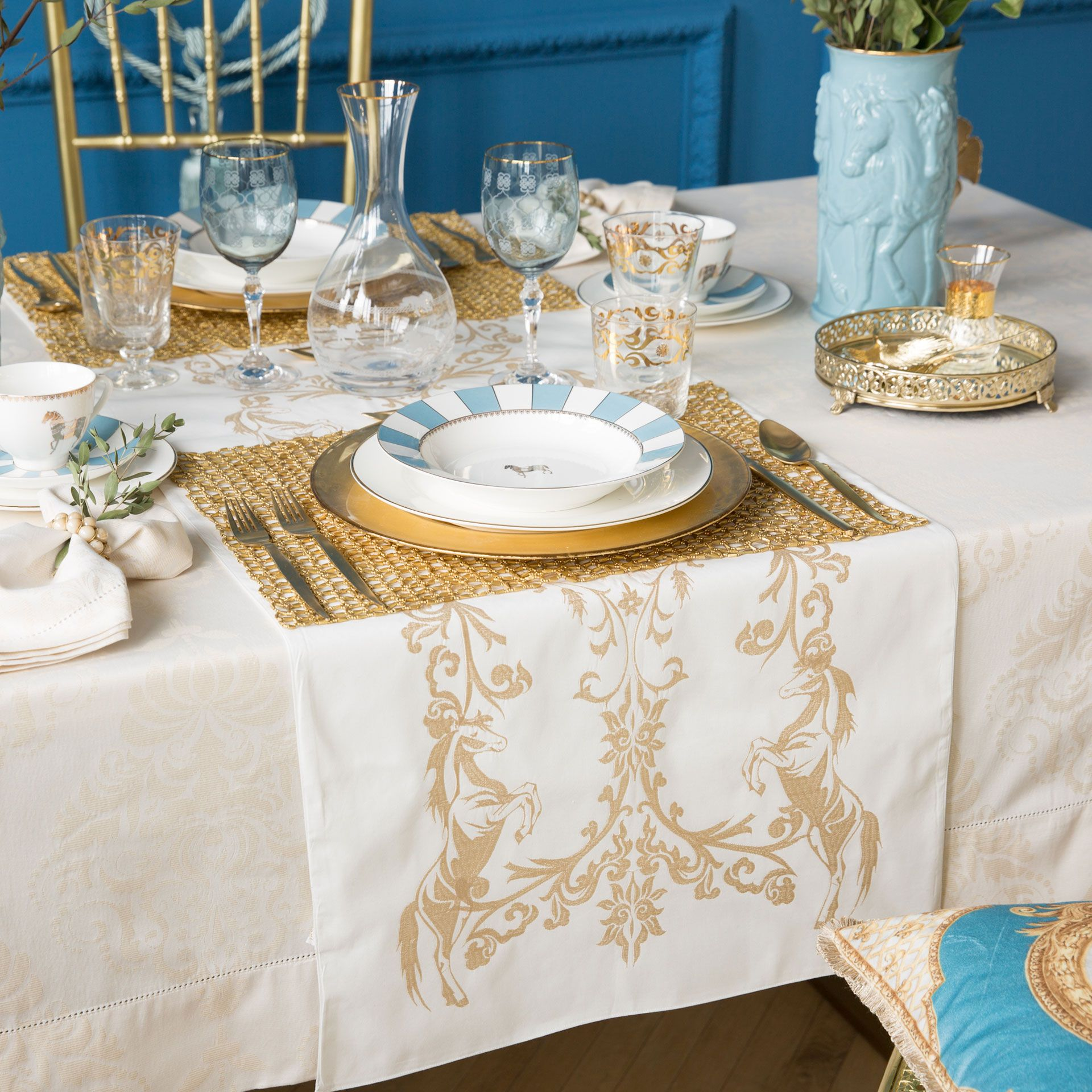 Golden Embroidered Cotton Table Runner  Table Runners  Tableware