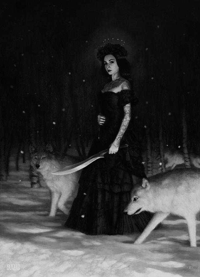 Artwork by Tom Bagshaw ( my edits ) - #art #dark #death #edits #forest #lady #my #night #wolf