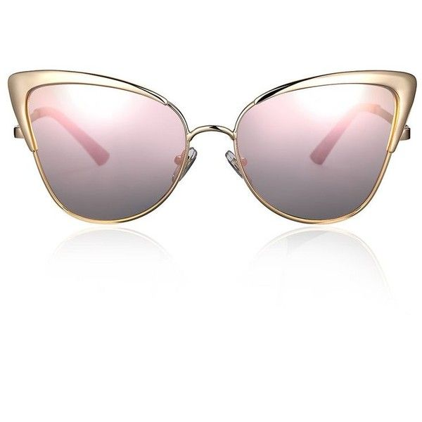 ef377f45dd Pink Oversized Mirror Cat Eye Sunglasses ( 50) ❤ liked on Polyvore  featuring accessories