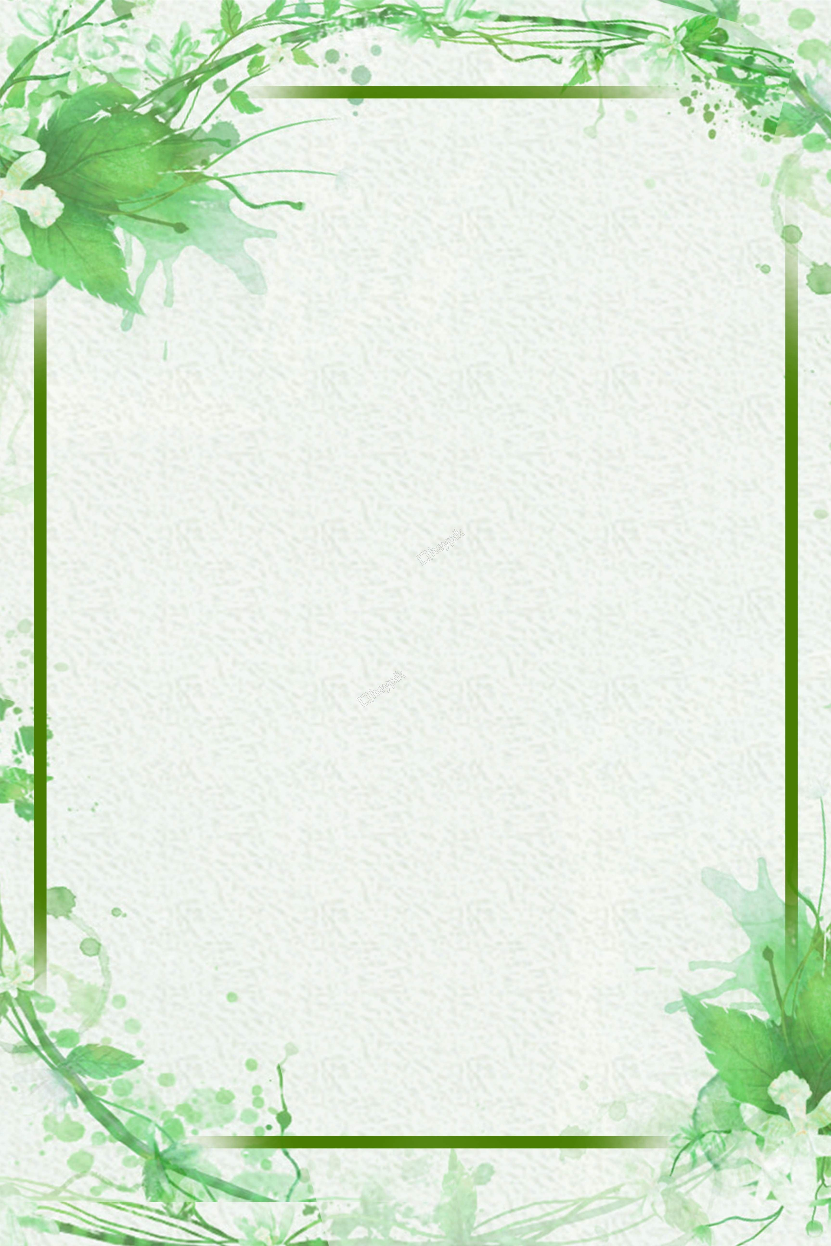Simple Green Leaves Decorative Border Background Vector In