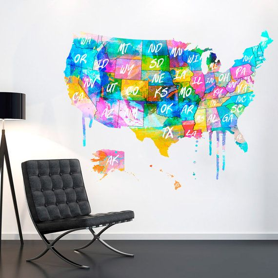 USA - us map - usa map - United States - watercolor Decal - Map of ...