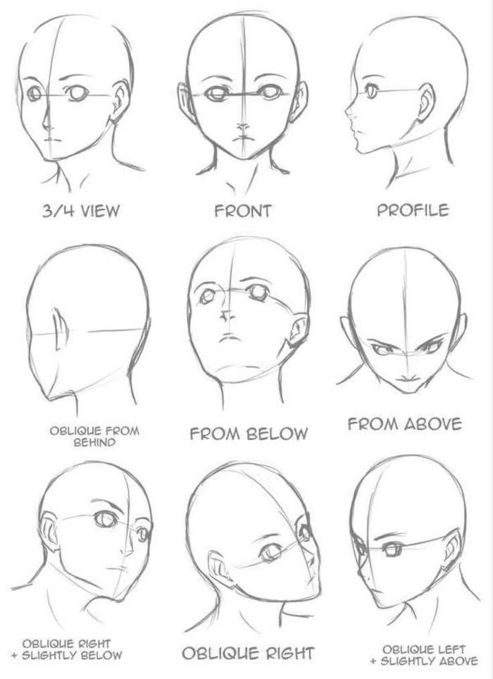 Drawing face, from different angles, anime girls drawing, black and white, pencil … – how to draw … – #Anime #aus #Bleisti