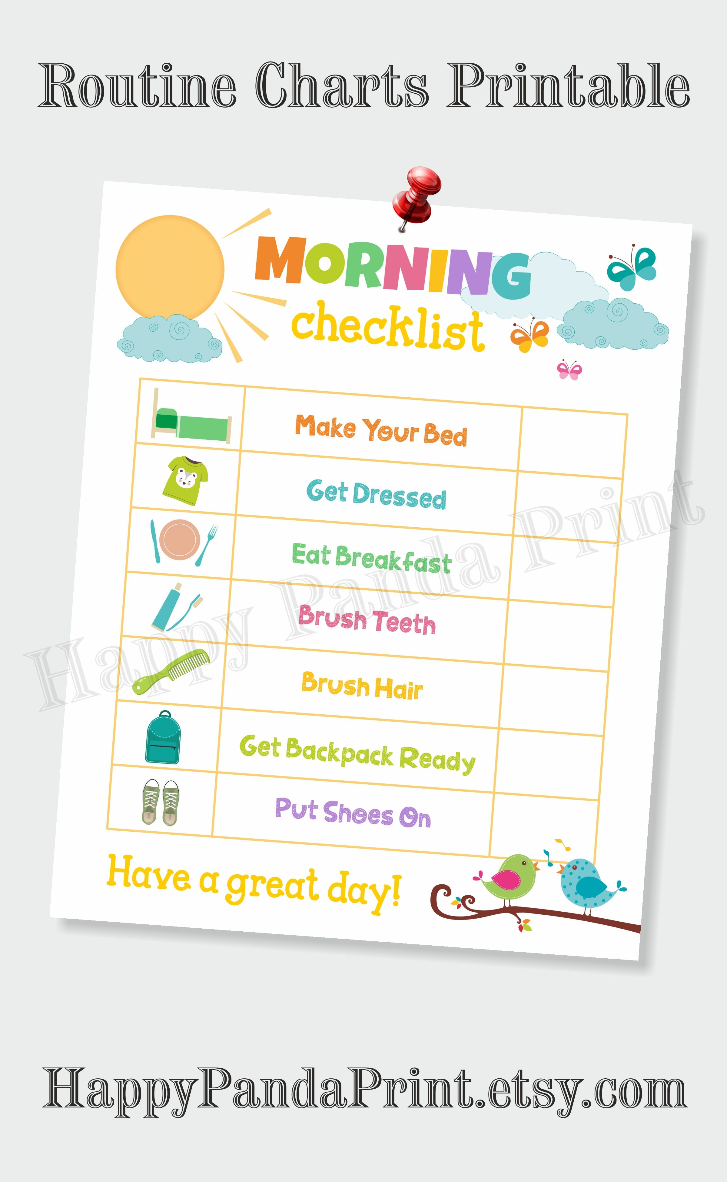 Morning Checklist Printable Morning Routine Checklist