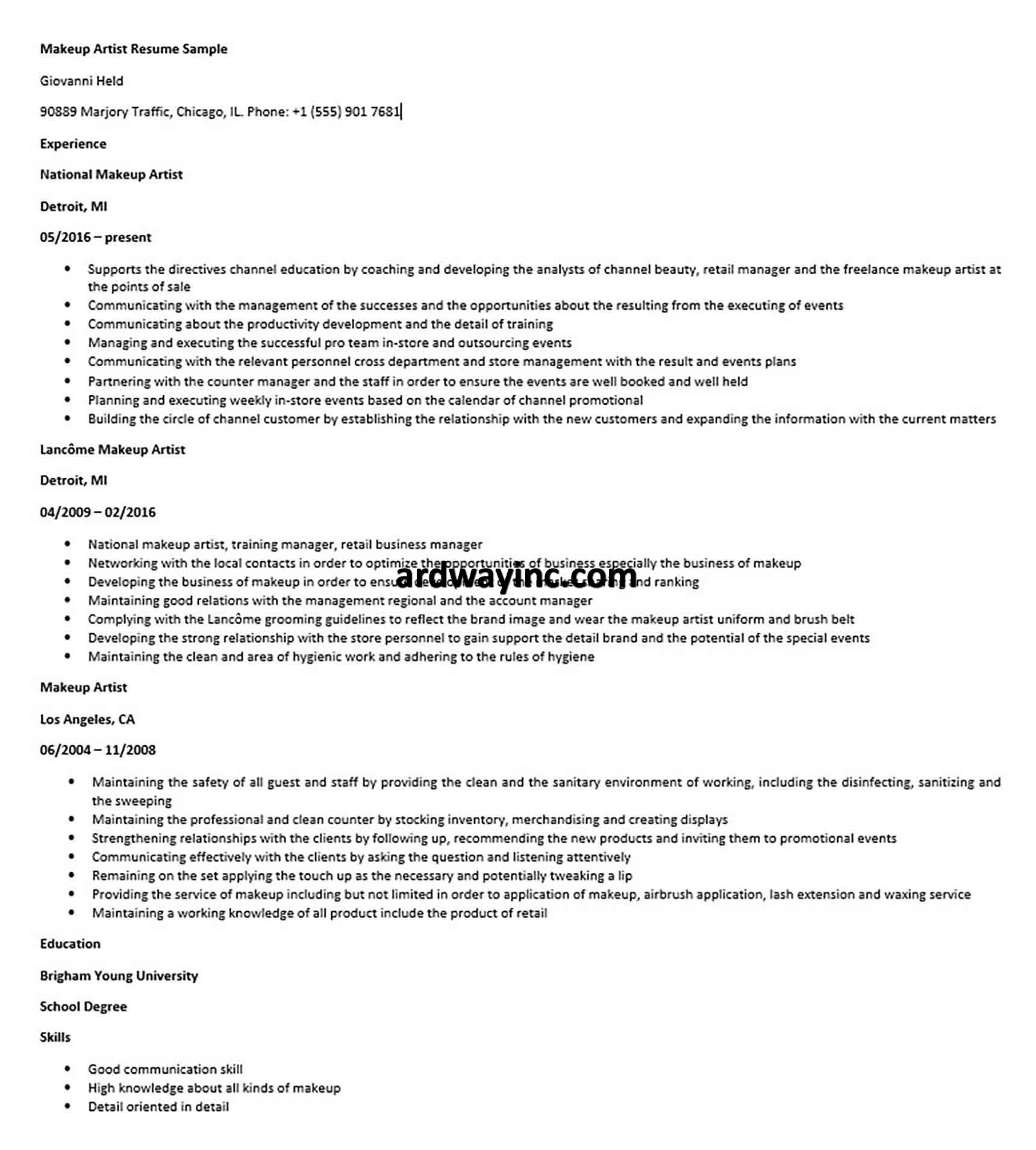 Beginner Makeup Artist Resume New Freelance Makeup Artist