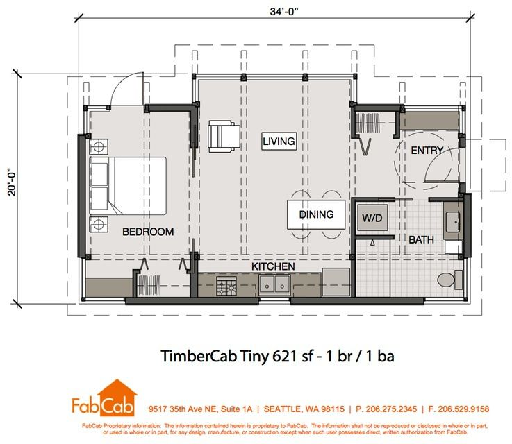 fabcab 1 br floor plan 621 sq ft | tiny houses | pinterest | tiny