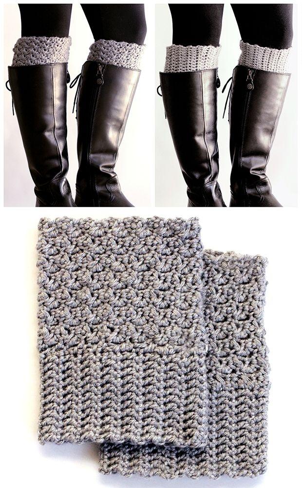 Easy Reversible Crochet Boot Cuffs | Cosas, Tejido y Botas