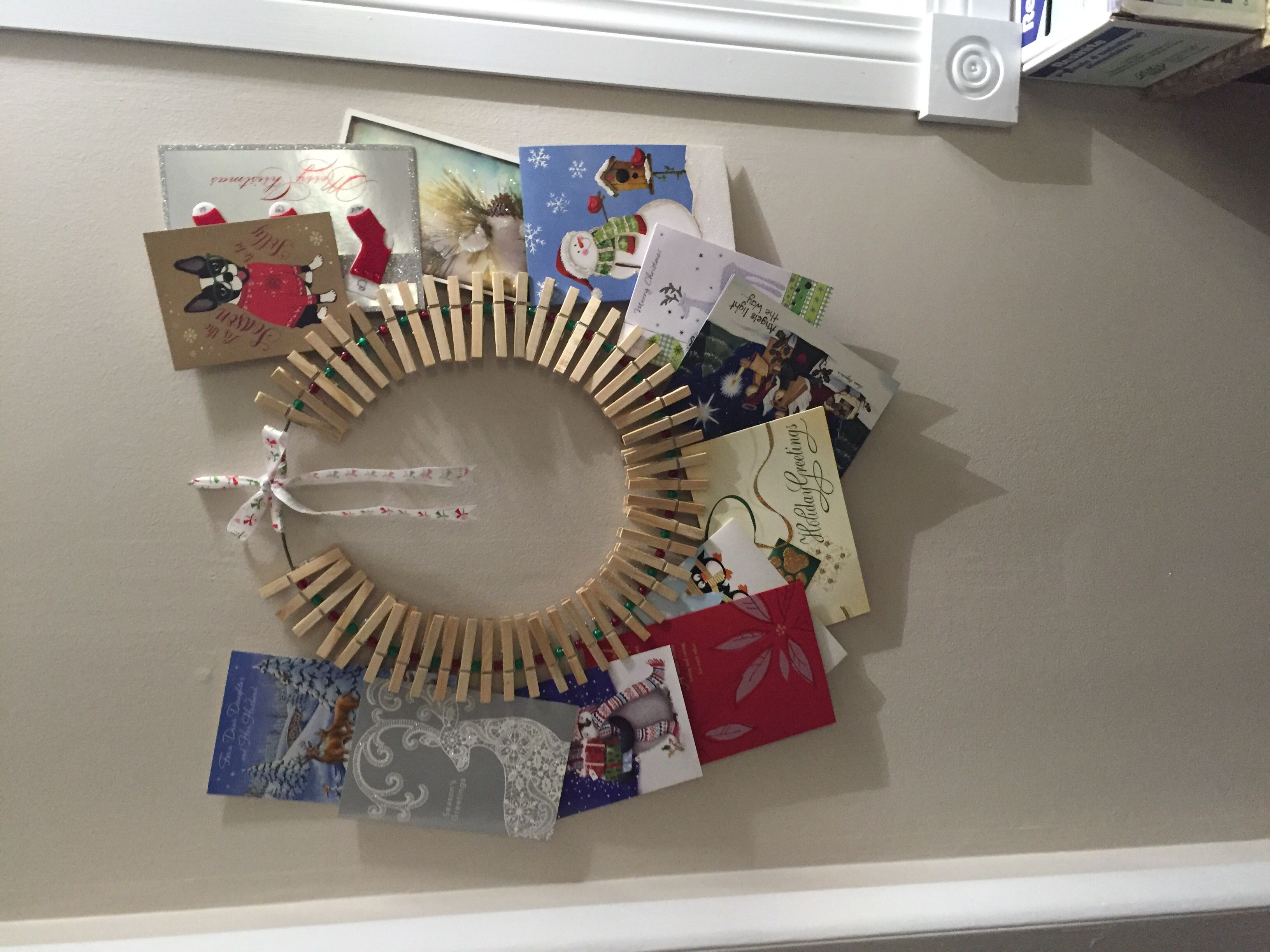 Christmas card clothespin wreath