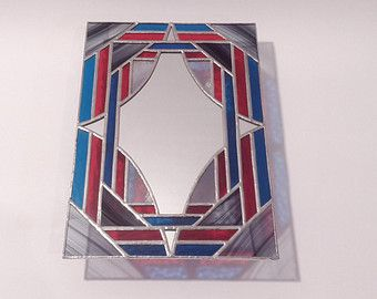 Stained Glass Mirror - Curved Diamond - 30cm x 20cm