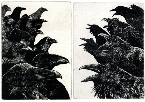 Raven (bird, crow) Series- The Jury and Inquisition. Etching diptych, hand pulled limited edition, 7 inch x 10 inch 2011
