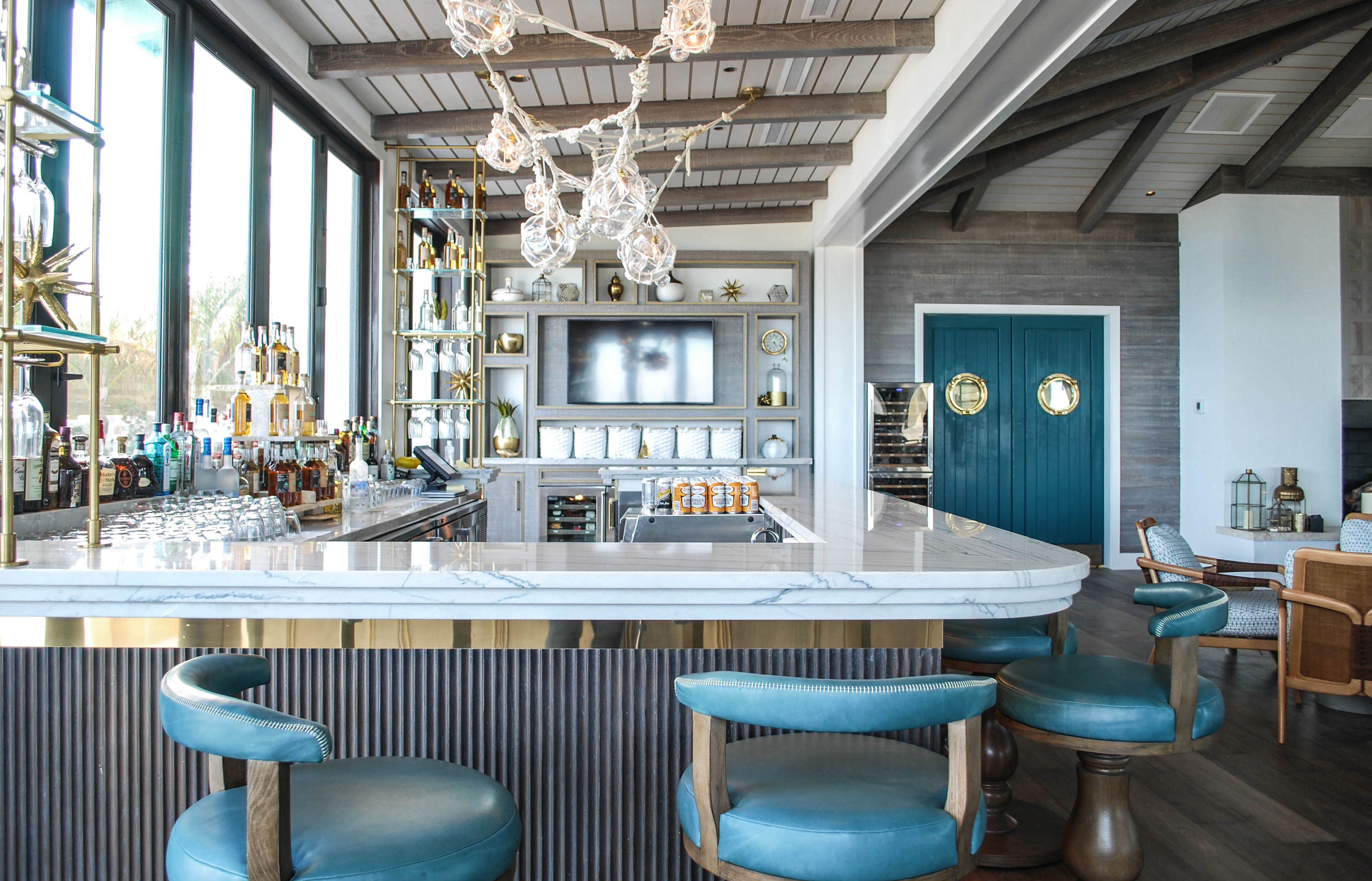 Open brass and glass shelving for a back bar in the Bahamas. Great ...