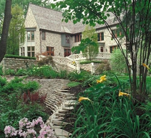 Country Mansion Terrace Garden Design Traditional Landscape Residential Landscaping