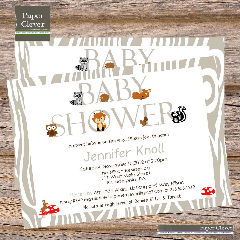 Gmail theme fox - Woodland Baby Shower Theme Baby Shower Invitation Modern Woodland Animal Digital File Printable