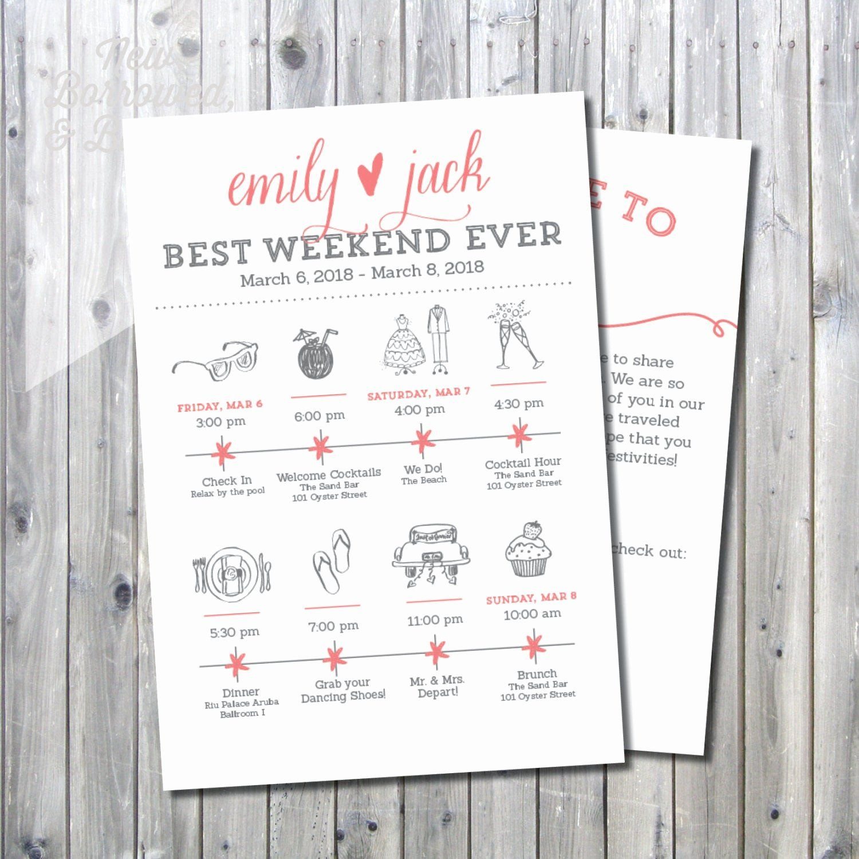 Wedding Weekend Itinerary Template Free Luxury Printable