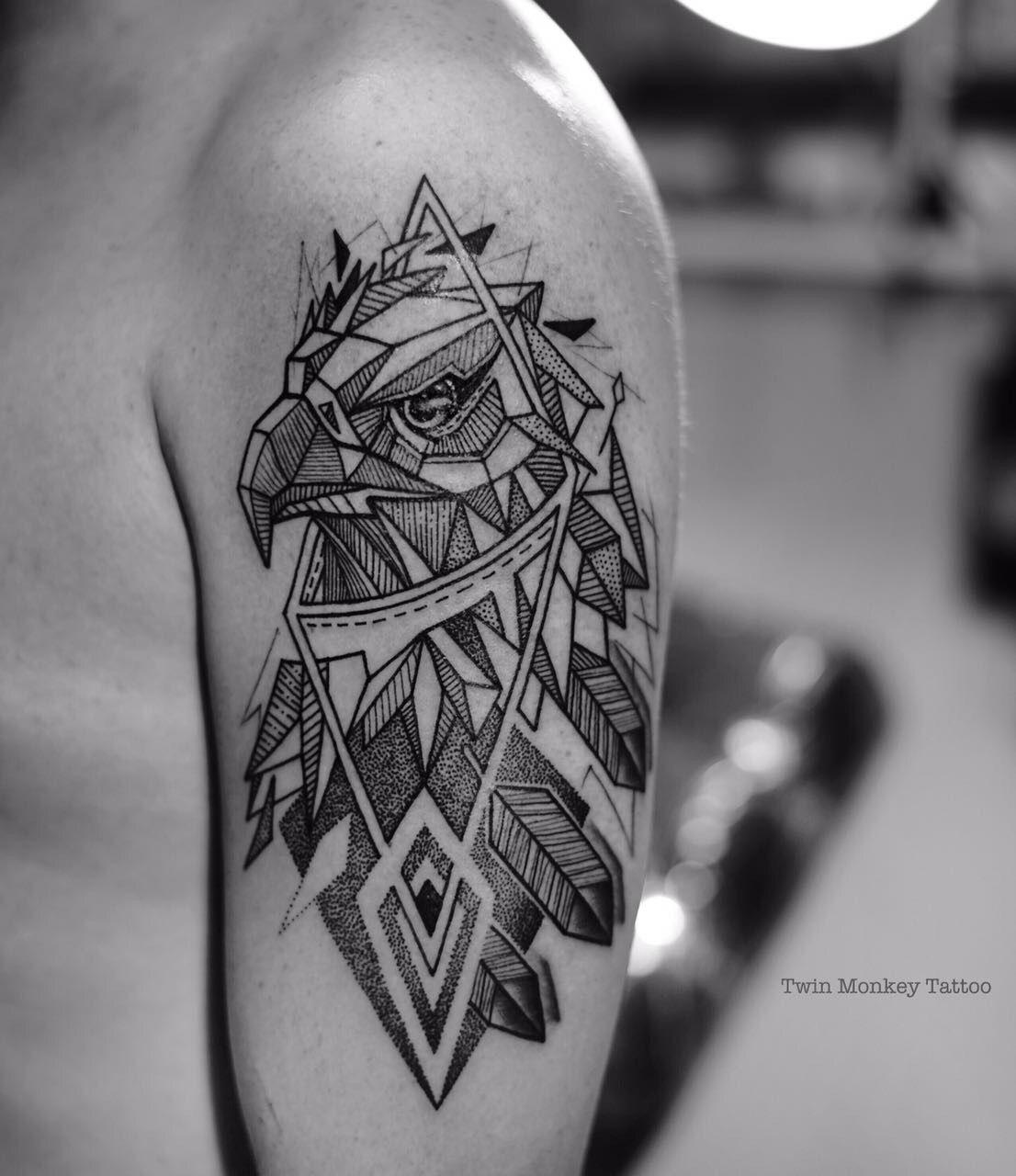 Geometric Line Drawing Tattoo : Twinmonkeytattoo line geometric geometrictattoo