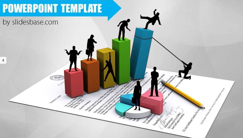 3d Business Bar Graph PowerPoint Template ShareTemplates - graphs and charts templates
