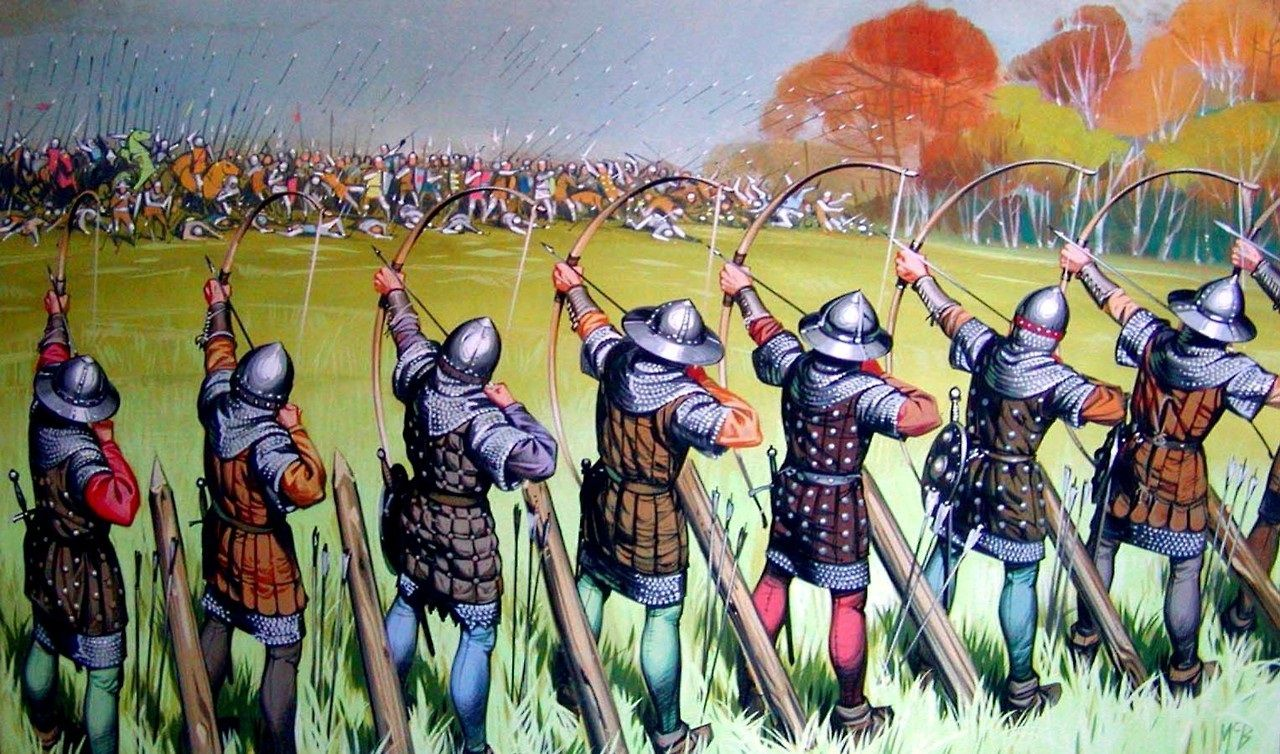 battleofcrecylongbowline hundred years war art