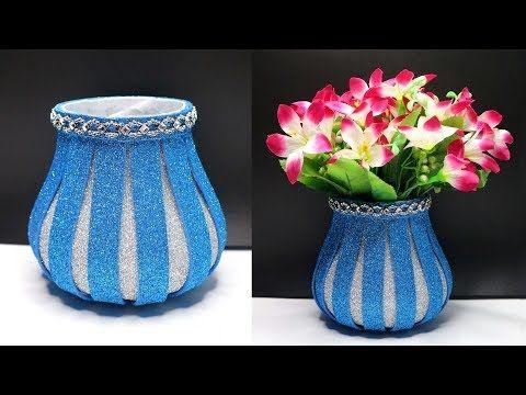 Ide Kreatif Vas Bunga Dari Botol Plastik Bekas Dengan Glitter