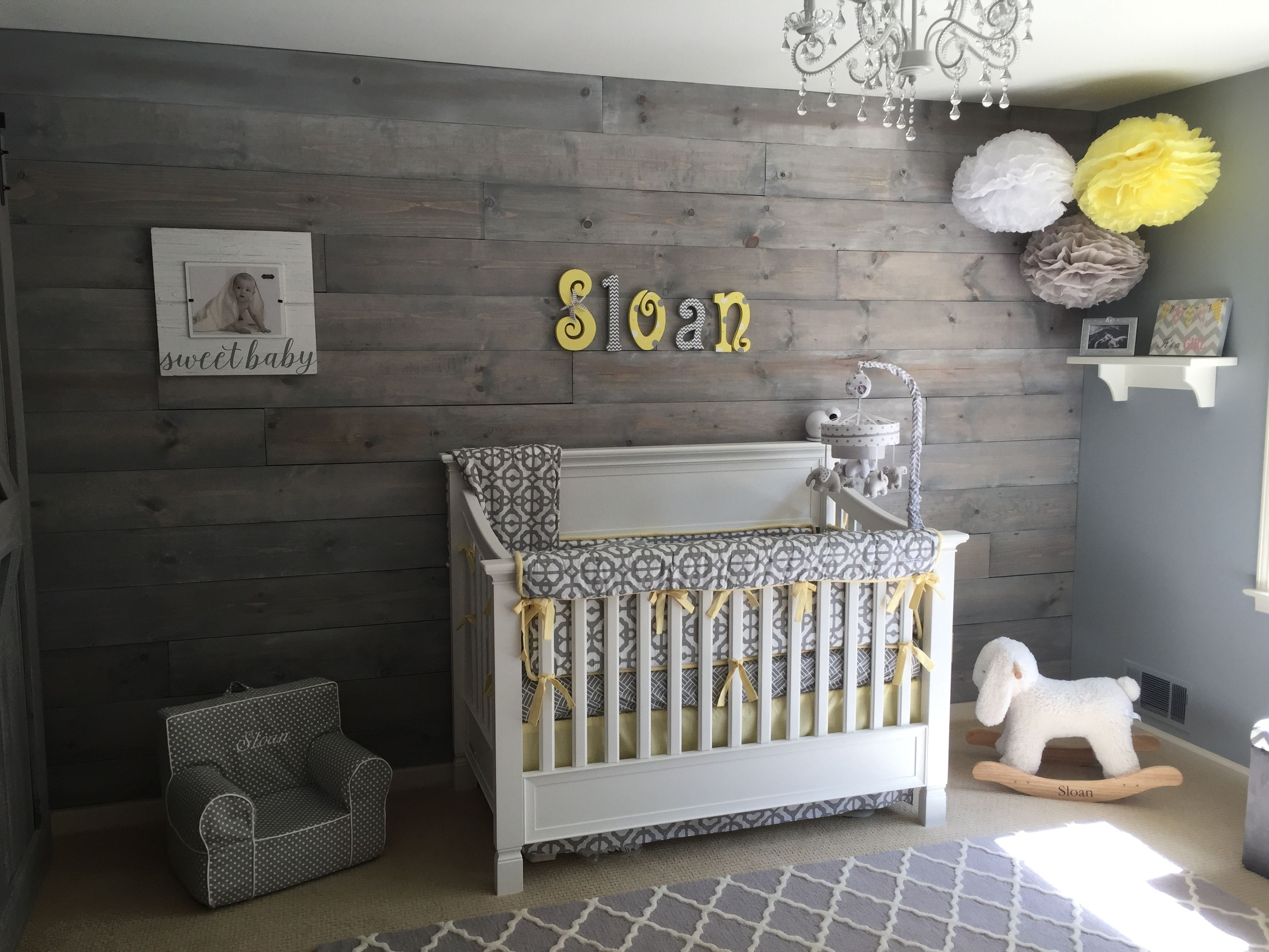 Shabby Chic Nursery Shiplap Barn Door Whitewash Gray Yellow