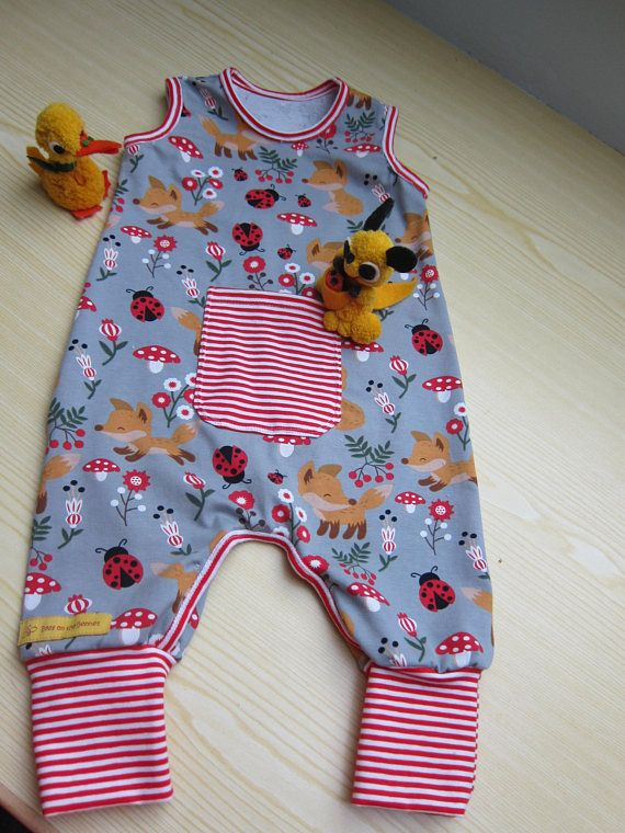 jumpsuit with ladybugs and muschrooms in white and red size 3-6 mo Ecological baby rompers in lucky charm mushrooms