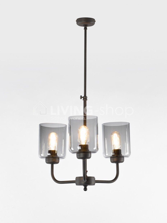 Loft stijl luster 3 lampen fumé glas www.living-shop.eu