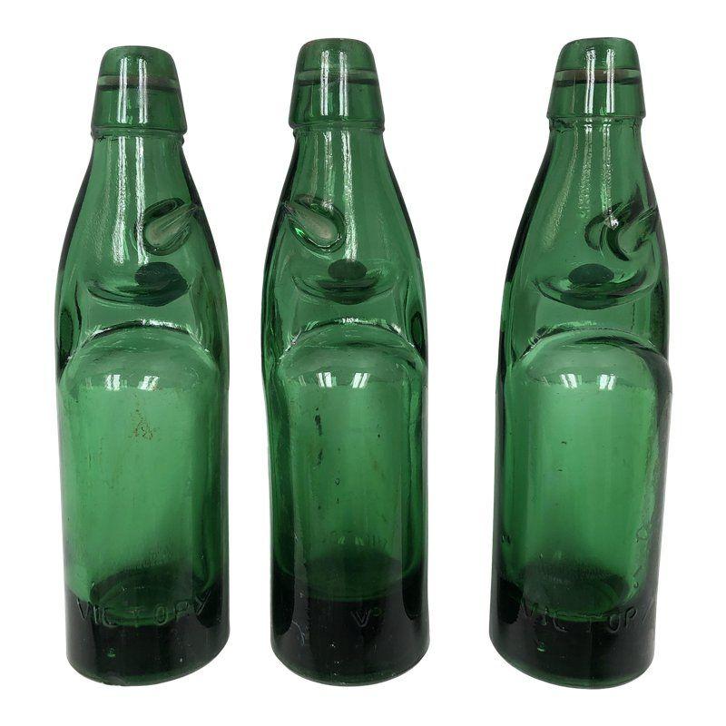 Vintage Codd Neck Soda Bottles With Marble Stoppers Set Of 3 Bottle Soda Bottles Vintage Bottles