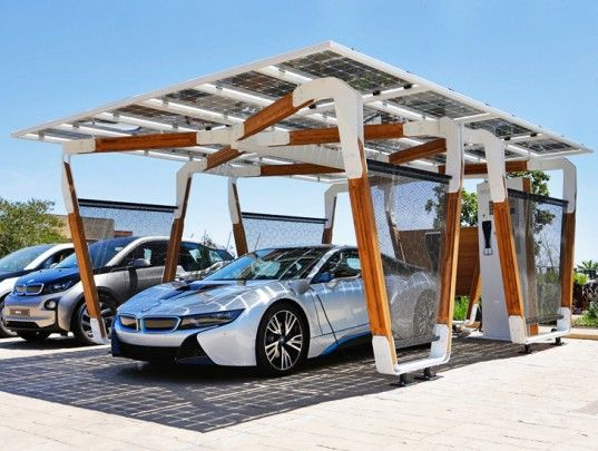 Bmw Unveils Solar Powered Bamboo Carport That Charges Electric Vehicles With The Sun Solar Car Solar Charging Station Carport
