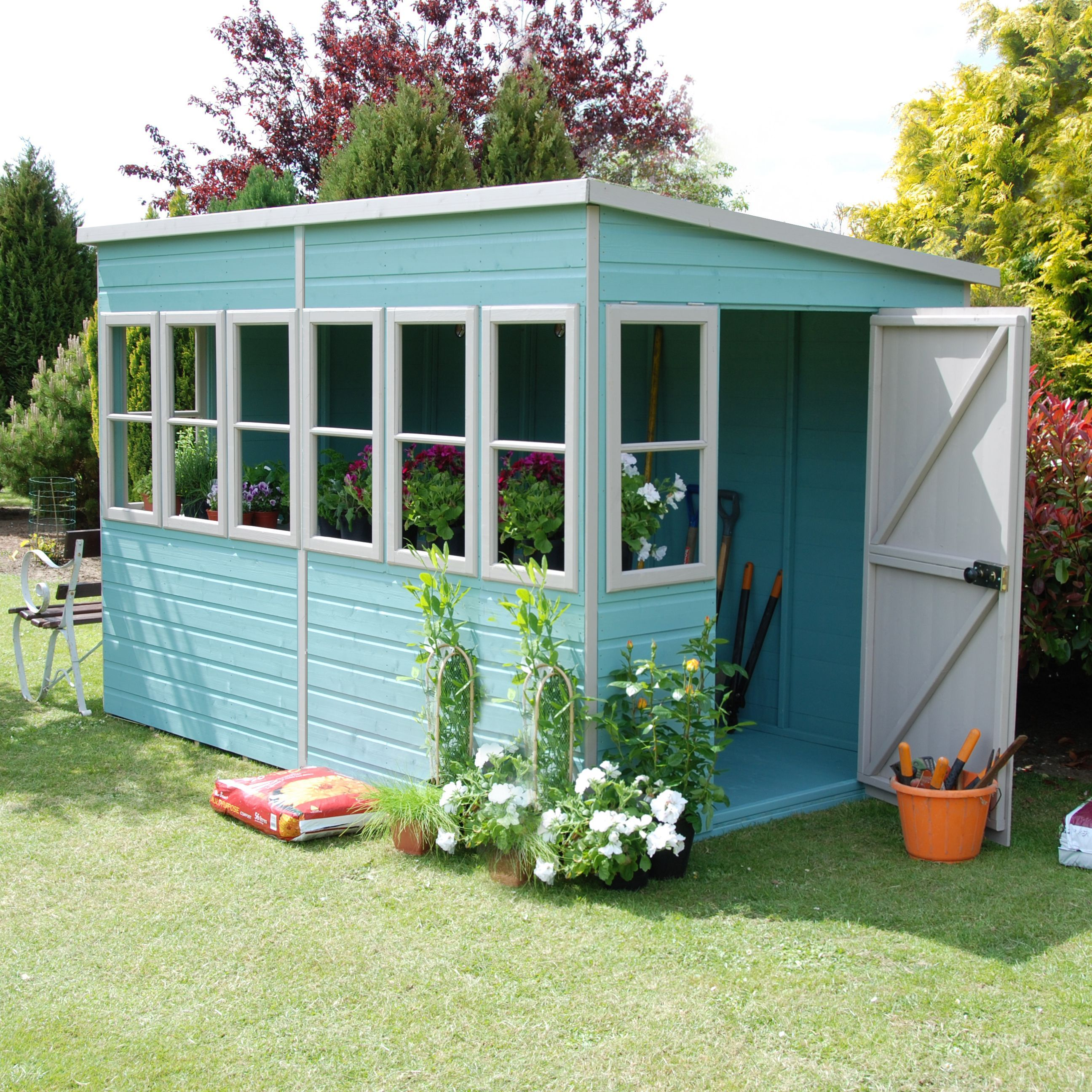 10x6 sun pent pent shiplap wooden shed - Garden Sheds B Q