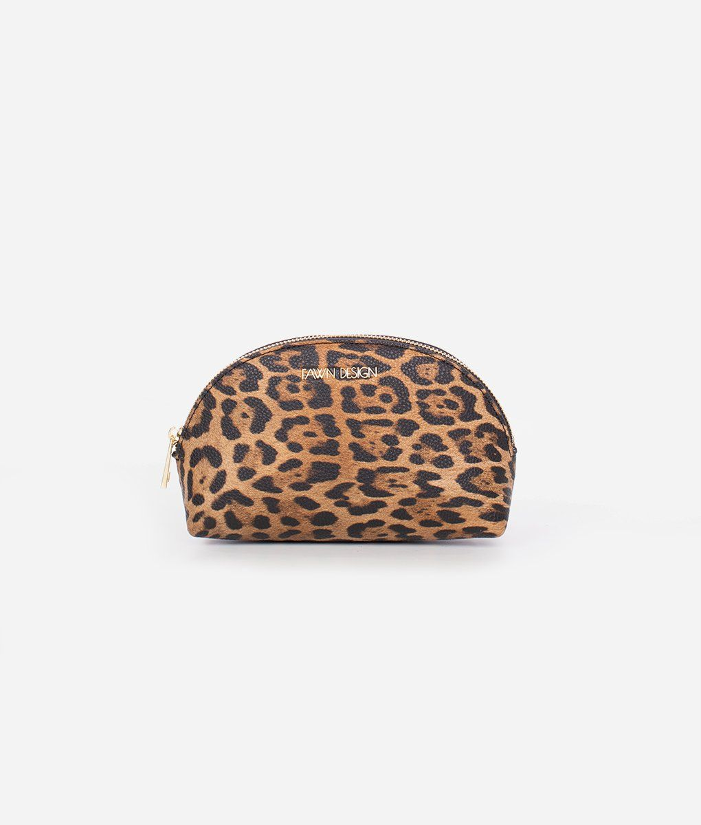 The Cosmetic Bag  Leopard (Small) - Cosmetic bag, Small cosmetic bags, Bags, Cosmetics, Cosmetic items, Small accessories - The new Fawn Design Small Cosmetic Bag in Leopard is the cat's meow! Store your makeup essentials in this sleek zippered bag  The Small Cosmetic Bag can fit most makeup and cosmetic items, plus an eyelash curler, tweezers, Qtips, or cotton pads  The bag can also be used to store jewelry or small accessories and electronic items, such as earbuds and charging cords, when you travel   Made of premium pebbled vegan leather Gold ziptop opening Easytoclean nylon lining    DIMENSIONS  Size8 x 6 x 3 Weight approximately 7oz