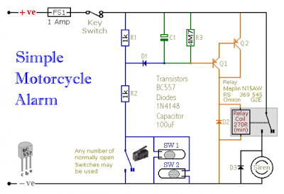 wiring material motorcycle alarm with transistor circuit diagram rh in pinterest com