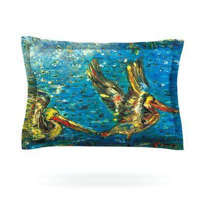 KESS InHouse Seabirds by Josh Serafin Featherweight Pillow Sham Size: Queen, Fabric: Cotton
