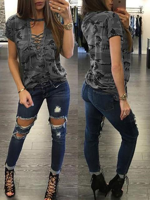 e989af77f4aeb0 New Fashion Women Ladies Short Sleeve Camouflage Loose Blouse Summer L –  Piketo