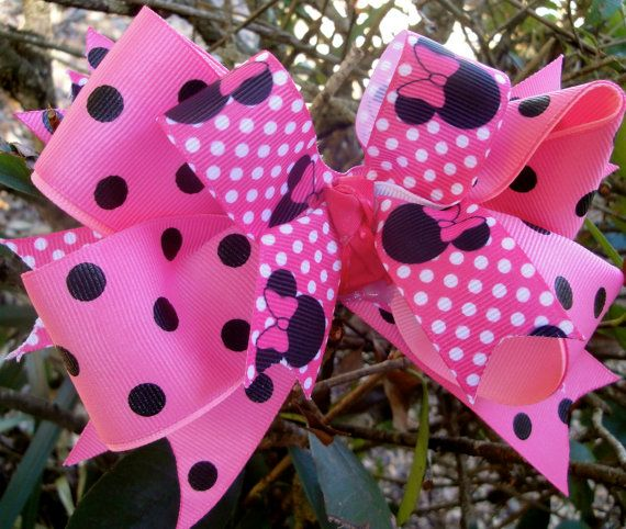 Minnie mouse inspired boutique bow by Hollywoodtutu on Etsy