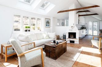 Cozy Living Room White Sofa Rustic Home in Sweden