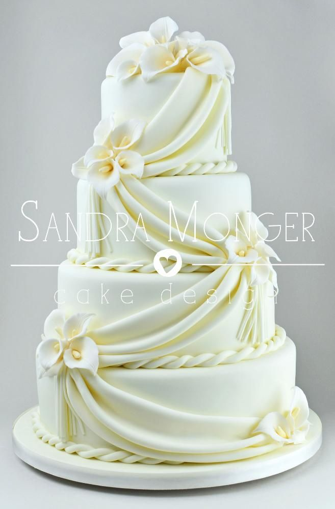 Classical And Elegant Stacked Wedding Cake With Sugar Drapes Handcrafted Lilies