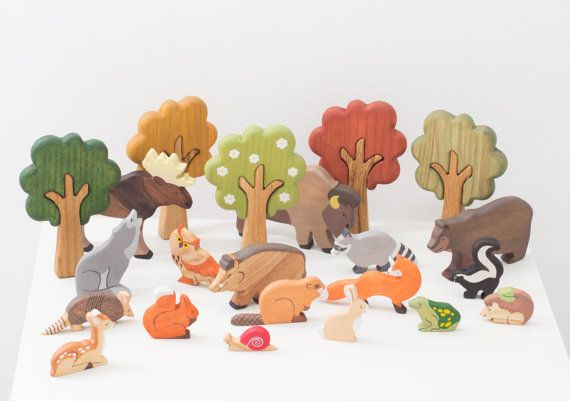 Wooden Toy Animals Baby Woodland Animals Figurines Wood Pet Toys