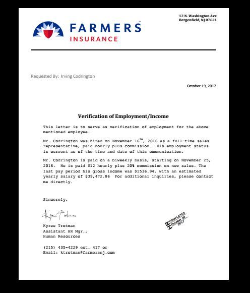 Job Verification Letter Income Job Employment Proof